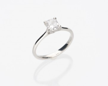 Platinum 1.02ct Cushion Cut Ring
