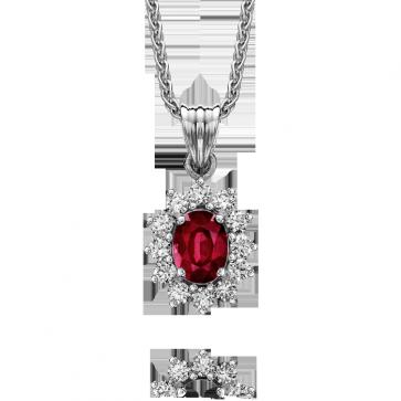 White Gold Ruby & Diamond Pendant