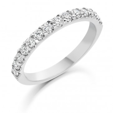 Platinum 14stone 0.70ct Diamond Wedding Ring