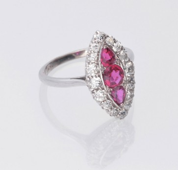 Pre Owned Platinum Ruby & Old Cut Diamond Marquise Style Cluster Ring