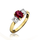 18ct Ruby & Diamond 3 Stone Ring