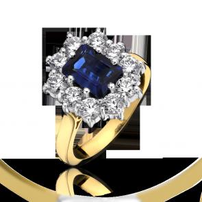 18ct Yellow Gold - Diamond & Sapphire Cluster Ring