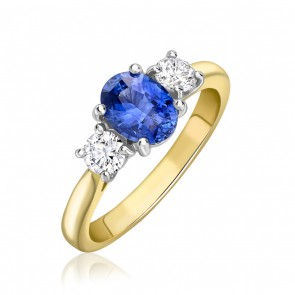18ct Yellow Gold Sapphire/Diamond 3 Stone Ring
