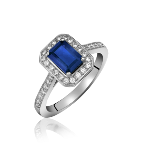 18ct White Gold Diamond & Sapphire Cluster
