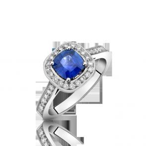 18ct White Gold - Sapphire & Diamond Cluster