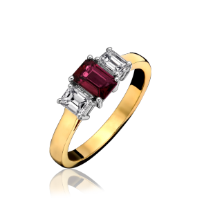 18ct Yellow Gold - 3 Stone Ruby & Diamond Ring