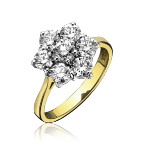 1.00ct Diamond Yellow Gold Cluster Ring