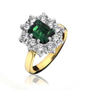 18ct Yellow Gold - Emerald & Diamond Ring
