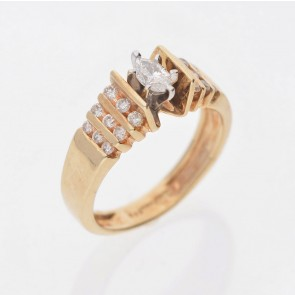 Marquise Bar Set Pre-Owned Ring