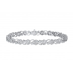 18ct White Gold Cherry Floral Diamond Bracelet