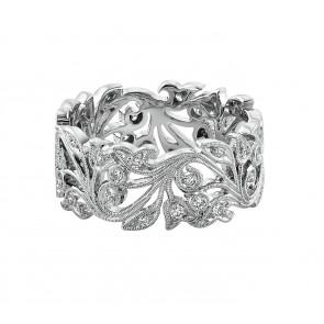 18ct White Gold Wide Vine Diamond Ring