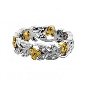 18ct Yellow & White Gold Cherry Diamond & Sapphire Ring