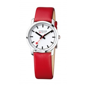 Men's Mondaine Red Leather Watch