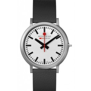 Mondaine - White Dial Black Leather Watch