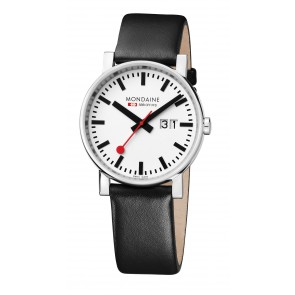 Black Leather Mondaine Watch