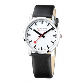 Black Leather Men's Mondaine Watch