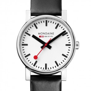 Mondaine Men's Black Leather Watch