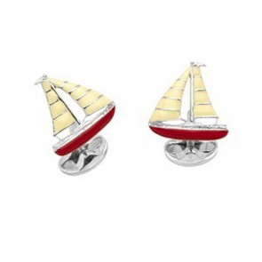 Poppy Red Sailing Boat Cufflinks