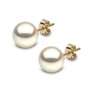 18ct Yellow Gold - Round Pearl Earrings (8x8.5mm)