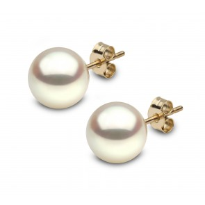 18ct Yellow Gold - Round Pearl Earrings (9x9.5mm)
