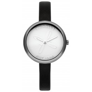 Black Leather White Dial Fiorelli Watch