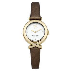 Brown Leather White Dial Fiorelli Watch