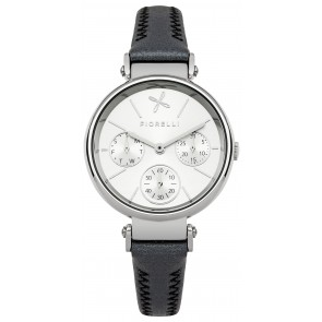 Black Leather Silver and White Dial Watch