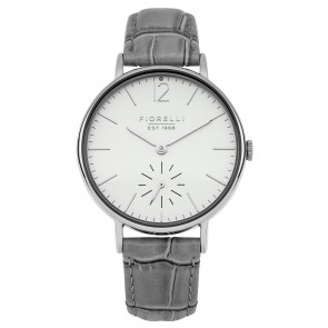 Grey Leather Cream Dial Watch