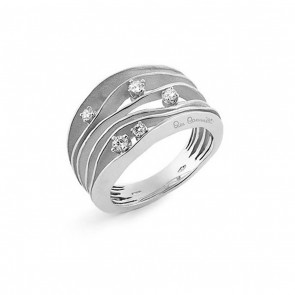 AnnaMaria Cammilli Dune 18 Carat White Gold and Diamond 4 Band Ring