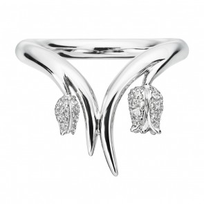 18ct White Gold Ring With 2 White Diamond Maybells