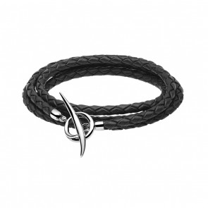 Black Woven Leather and Silver C Tusk T-bar Wrap Bracelet Medium (71cm)