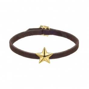 Brown Leather Bracelet With Silver Gold Plate Star Charm