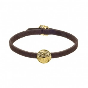 Brown Leather Bracelet With Silver Gold Plate Patterned Sun Charm  Medium