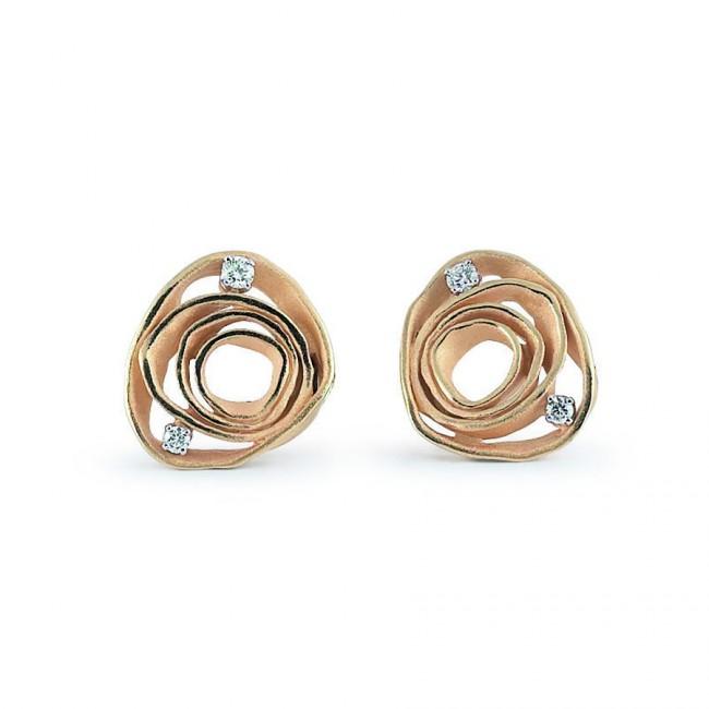 Annamaria Cammilli Dune 18 Carat Gold And Diamond Stud Earrings