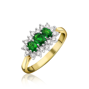 18ct Yellow Gold - Diamond & Emerald Cluster