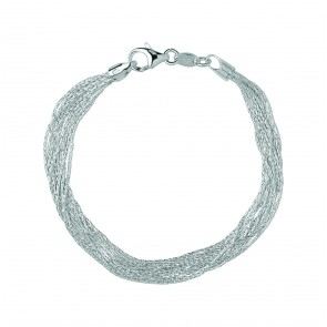 Essentials Sterling Silver Silk 10 Row Bracelet Medium
