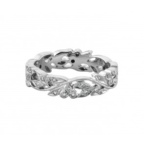 18ct White Gold Cherry Floral Diamond Ring