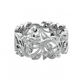 18ct White Gold Wide Vine Diamond Ring