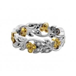 18ct Yellow & White Gold Cherry Diamond & Sapphire Ring