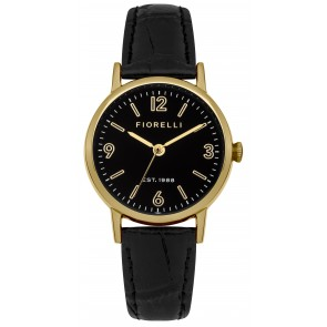 Black Leather Gold & Black Dial Watch