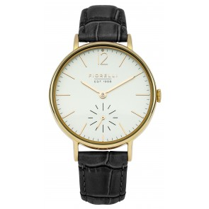 Black Leather Cream Dial Watch