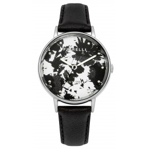 Black Strap Leaf Print Dial Watch