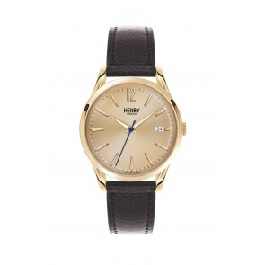 Unisex Gold Plated & Leather Watch