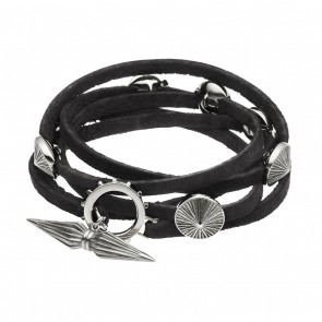 Long Black Leather Wrap With 7 Silver Sun Charms Large
